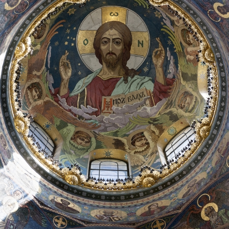 traditionally russian: Interiors of the Church of the Saviour on Spilled Blood, St. Petersburg, Russia