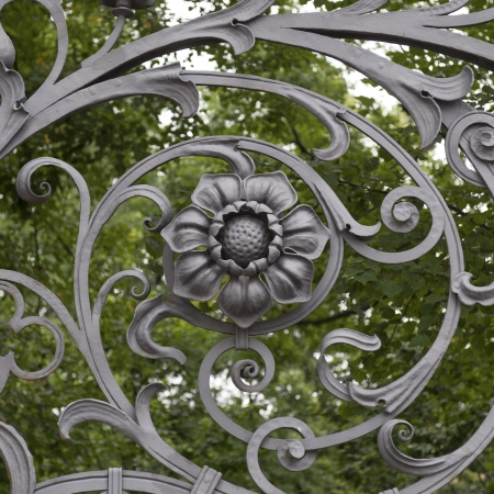 st petersburg: Wrought iron gate of Church of the Saviour on Spilled Blood, St. Petersburg, Russia Stock Photo