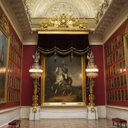 traditionally russian: Paintings of famous Russian leaders in a museum, Winter Palace, State Hermitage Museum, Palace Square, St. Petersburg, Russia