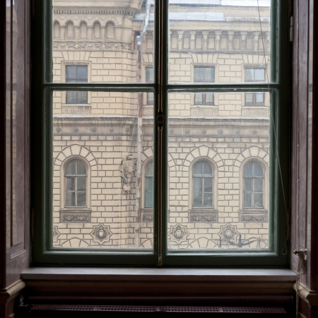 traditionally russian: Building viewed through a window of a museum, Winter Palace, State Hermitage Museum, Palace Square, St. Petersburg, Russia