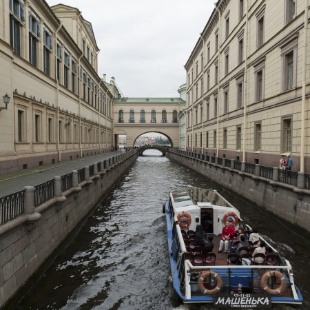 hermitage: Tourists on the boat in a canal, Winter Canal, Winter Palace, State Hermitage Museum, Palace Square, St. Petersburg, Russia