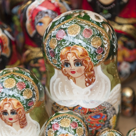 Close-up of Russian nesting dolls at a market stall, St. Petersburg, Russia photo