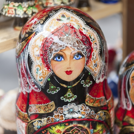 showpiece: Close-up of Russian nesting dolls at a market stall, St. Petersburg, Russia