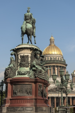 traditionally russian: Monument to Nicholas I in front of Saint Isaacs Cathedral, St. Isaacs Square, St. Petersburg, Russia Stock Photo