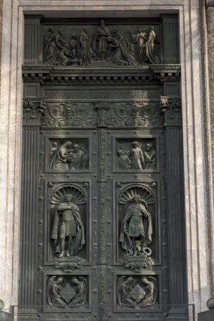 Carved door of the Saint Isaacs Cathedral, St. Isaacs Square, St. Petersburg, Russia photo