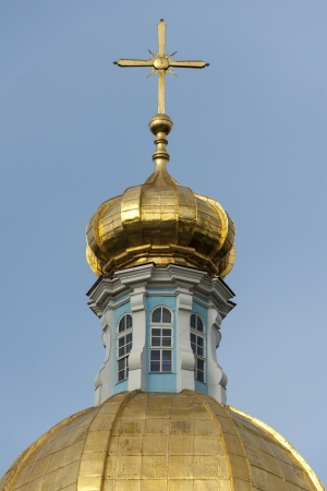 traditionally russian: Gilded dome of a cathedral, Naval Cathedral of St. Nicholas, St. Petersburg, Russia