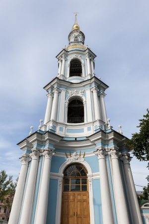 traditionally russian: Bell tower of a cathedral, Naval Cathedral of St. Nicholas, St. Petersburg, Russia