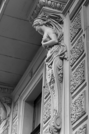 atlantes: Low angle view of carving details, St. Petersburg, Russia