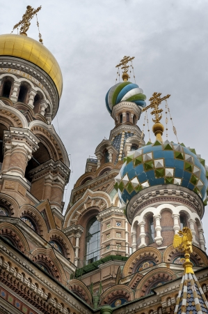traditionally russian: Low angle view of the Church of the Saviour on Spilled Blood, St. Petersburg, Russia