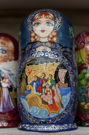 traditionally russian: Close-up of Russian nesting dolls at a market stall, St. Petersburg, Russia