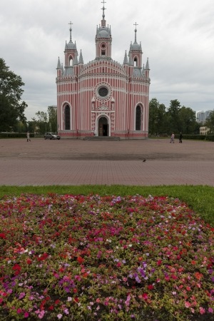 traditionally russian: Facade of the Chesme Church, St. Petersburg, Russia