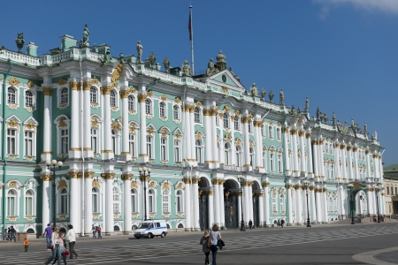 Facade of the Winter Palace, State Hermitage Museum, Palace Square, St. Petersburg, Russia Sajtókép