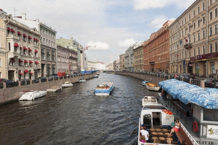 Tourboats in the Moyka River, St. Petersburg, Russia