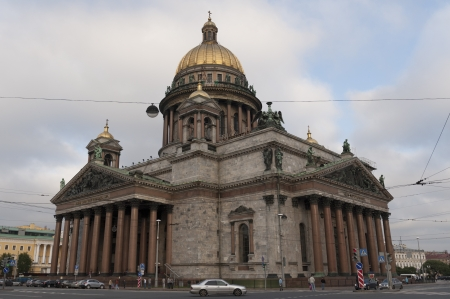 Facade of the Saint Isaacs Cathedral, St. Petersburg, Russia
