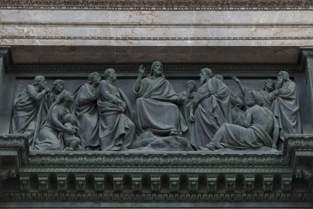 female likeness: Carving details in the Saint Isaacs Cathedral, St. Petersburg, Russia Stock Photo