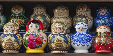 russian nesting dolls: Display of colorful Russian nesting dolls, St. Petersburg, Russia