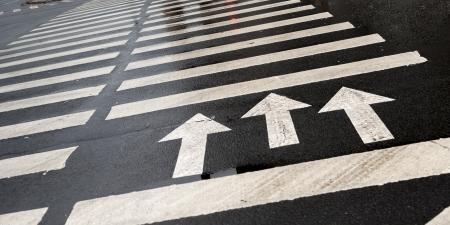 zebra crossing: Arrow signs with crosswalk markings on the road, St. Petersburg, Russia