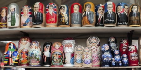 Display of colorful Russian nesting dolls, St. Petersburg, Russia
