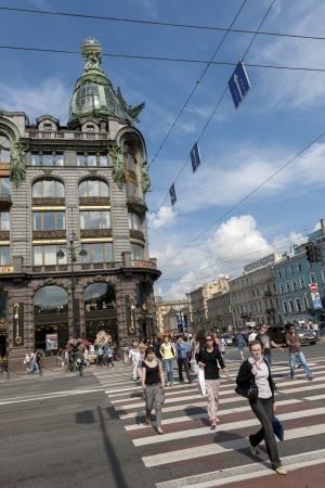 People crossing a road, Singer House, Nevsky Prospekt, St. Petersburg, Russia