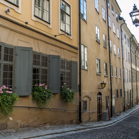 Window boxes on the windows of building, Gamla Stan, Stockholm, Sweden photo