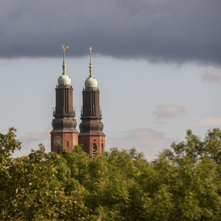 Low angle view of a church tower, Hogalid Church, Stockholm, Sweden photo