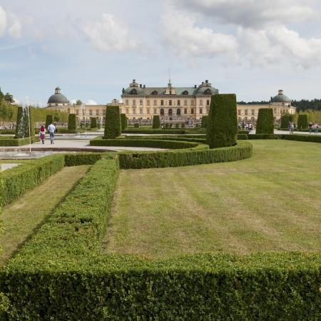 incidental people: Baroque garden in front of Drottningholm Palace, Drottningholm, Stockholm, Sweden
