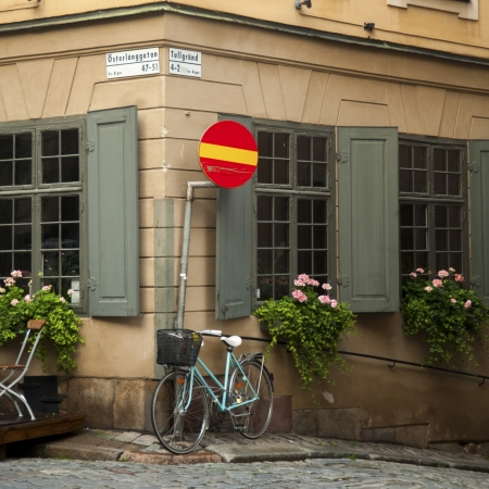 do not enter: Window boxes on the windows of building, Jarntorget, Gamla Stan, Stockholm, Sweden Stock Photo