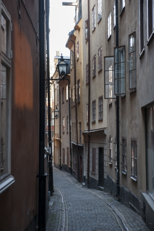 Houses both sides of a street, Gamla Stan, Stockholm, Sweden photo