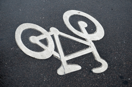 bicycle lane: Bicycle lane sign on the road, Stockholm, Sweden