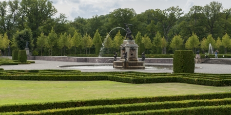 the royal county: Fountain in a baroque garden, Drottningholm Palace, Drottningholm, Stockholm County, Sweden