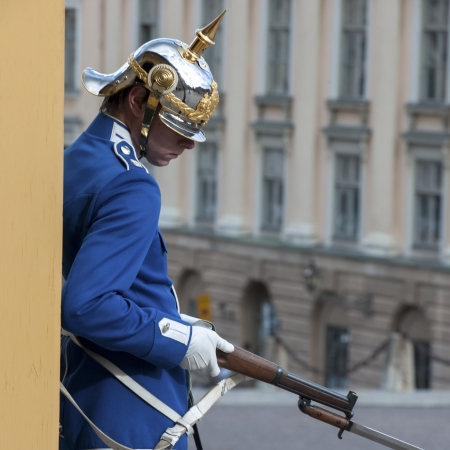 waistup: Royal guard in the Stockholm Palace, Gamla Stan, Stockholm, Sweden Editorial