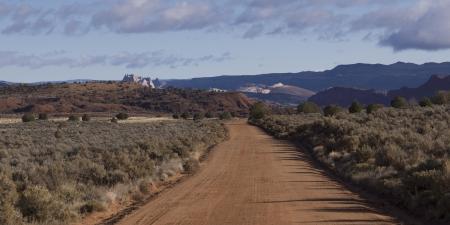 paria canyon: Dirt road passing through a landscape, Paria Canyon, Paria, Kane County, Utah, USA