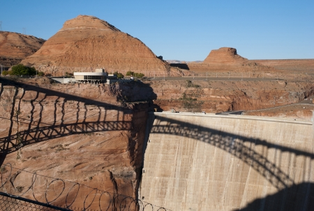 lake powell: Bridge and Glen Canyon Dam, Lake Powell, Page, Arizona, USA Editorial