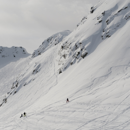 Tourists skiing, Whistler, British Columbia, Canada