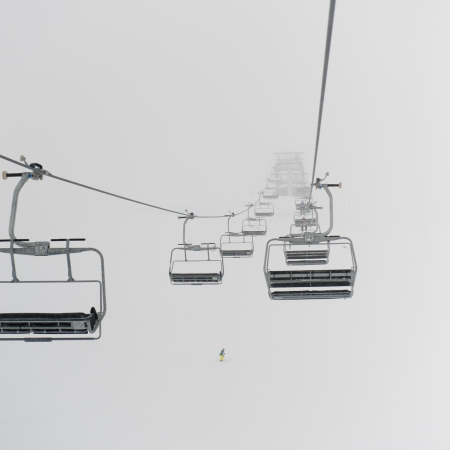Low angle view of ski lifts, Symphony Amphitheatre, Whistler, British Columbia, Canada photo