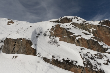 extreme angle: Low angle view of a snow covered mountain, Whistler, British Columbia, Canada Stock Photo