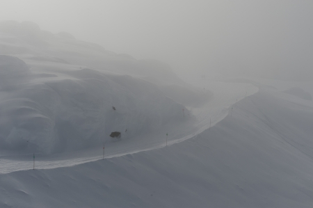 fog white: Ski resort covered with fog, Whistler, British Columbia, Canada Stock Photo