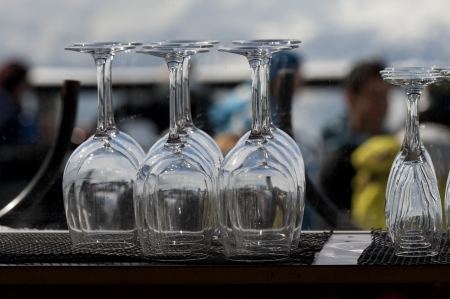 Close-up of empty wine glasses at bar counter, Whistler, British Columbia, Canada Stock Photo