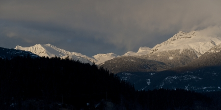 Snow covered mountains, Whistler, British Columbia, Canada photo