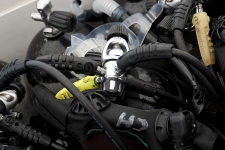 Close-up of diving equipment, San Cristobal Island, Galapagos Islands, Ecuador Stock fotó