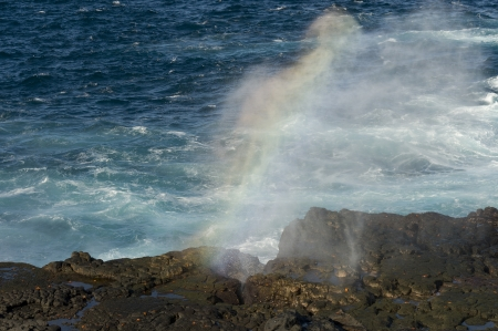 blow hole: Blow hole on the coast, Punta Suarez, Espanola Island, Galapagos Islands, Ecuador