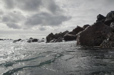 Rock formations on the coast, Playa Ochoa, San Cristobal Island, Galapagos Islands, Ecuador Stock Photo - 17716555