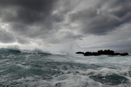 Waves in the Pacific Ocean, Playa Ochoa, San Cristobal Island, Galapagos Islands, Ecuador Stock Photo - 17716551