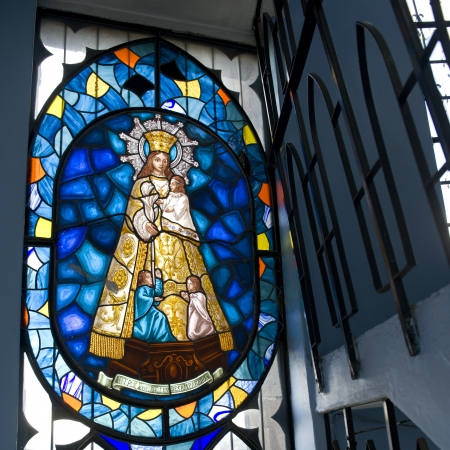 Stained glass window of Virgin Mary, Virgin Mary Of Quito, Panecillo Hill, Quito, Ecuador
