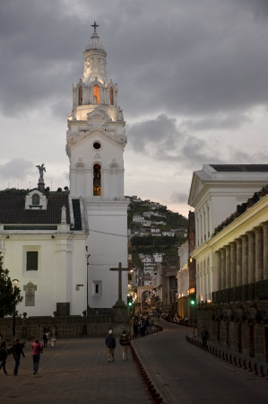 Cathedral in a city, Cathedral of Quito, Plaza De Independencia, Historic Center, Quito, Ecuador