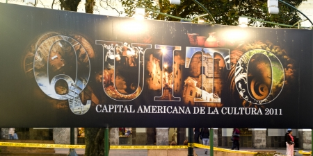 Low angle view of a signboard, Plaza de Independencia, Historic Center, Quito, Ecuador