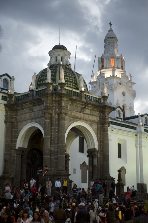 People at a cathedral, Cathedral of Quito, Plaza de Independencia, Historic Center, Quito, Ecuador
