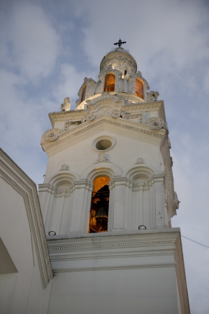 Bell tower of a church, Iglesia Del Sagrario, Cathedral of Quito, Plaza de Independencia, Historic Center, Quito, Ecuador photo