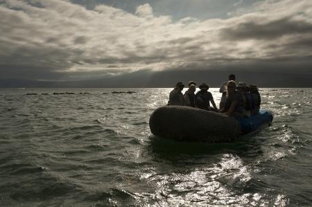 only men: Tourists in a panga, Punta Espinoza, Fernandina Island, Galapagos Islands, Ecuador Stock Photo