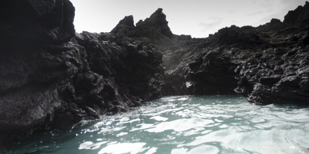 Rock formations, Puerto Egas, Santiago Island, Galapagos Islands, Ecuador